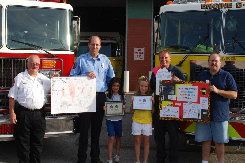 Pictured from Left to Right: Chief George Boyer, Captain Clif Laughman, Trimmer Elementary winner Georgia Rogers, Lincolnway Elementary winner Kylie McCubbin, Assistant Chief Roy Gentzler and Chief Dave Markle